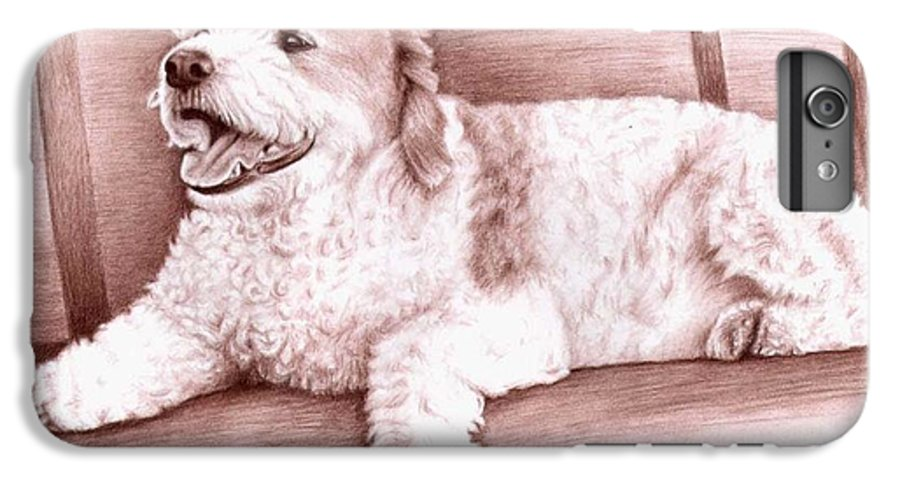 Dog IPhone 6s Plus Case featuring the drawing Baco by Nicole Zeug