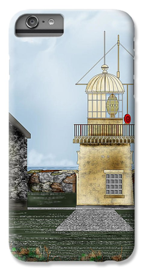 Lighthouse IPhone 6s Plus Case featuring the painting Ballinacourty Lighthouse At Waterford Ireland by Anne Norskog