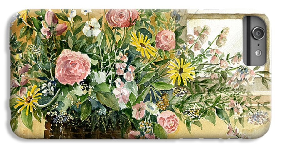 Basket IPhone 6s Plus Case featuring the painting Basket Bouquet by Arline Wagner