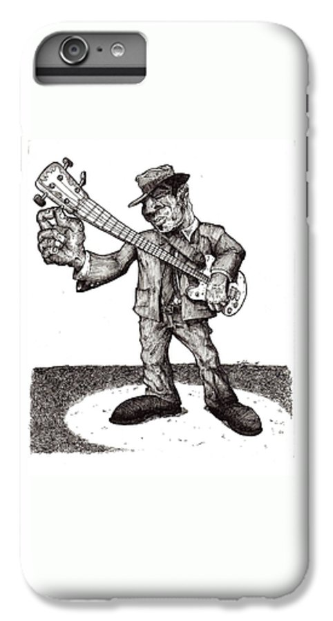 Blues IPhone 6s Plus Case featuring the drawing Bass by Tobey Anderson