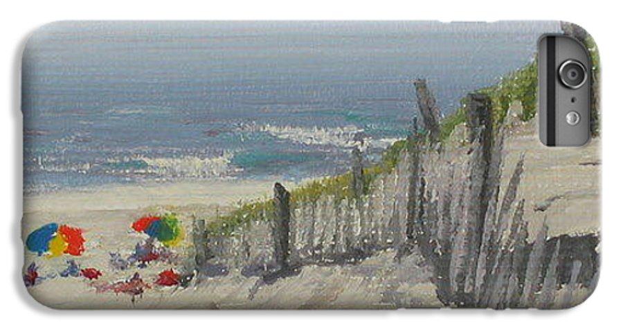 Beach IPhone 6s Plus Case featuring the painting Beach Scene Miniature by Lea Novak