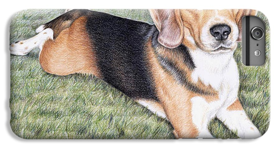 Dog IPhone 6s Plus Case featuring the drawing Beagle by Nicole Zeug