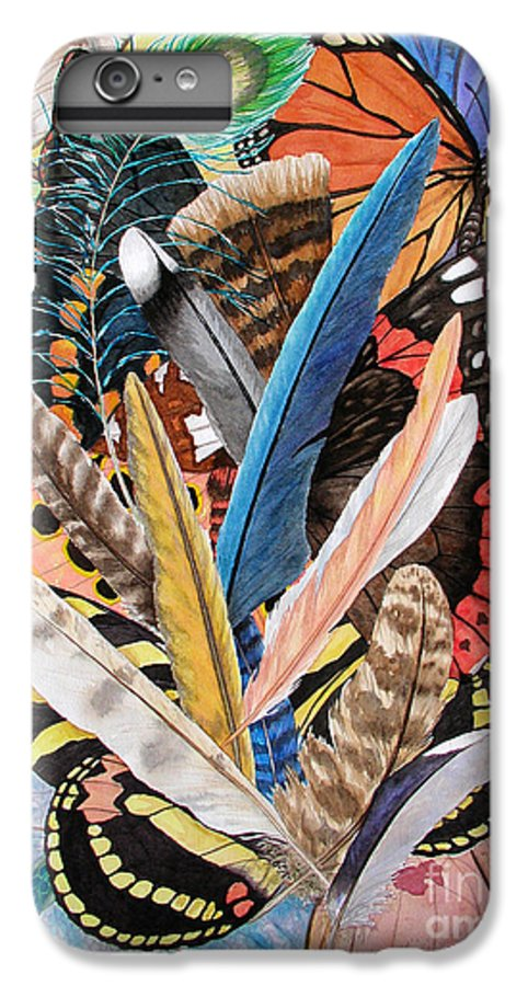 Feathers IPhone 6s Plus Case featuring the painting Bits Of Flight by Lucy Arnold