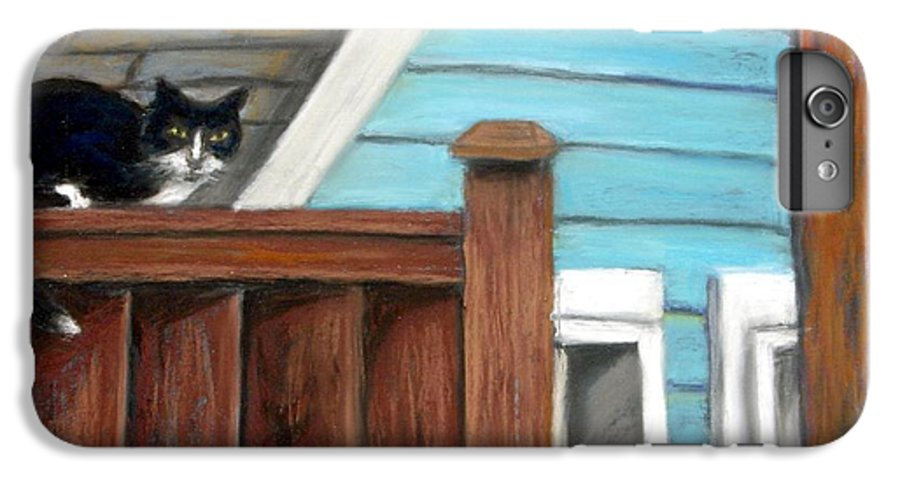 Cat IPhone 6s Plus Case featuring the painting Black Alley Cat by Minaz Jantz