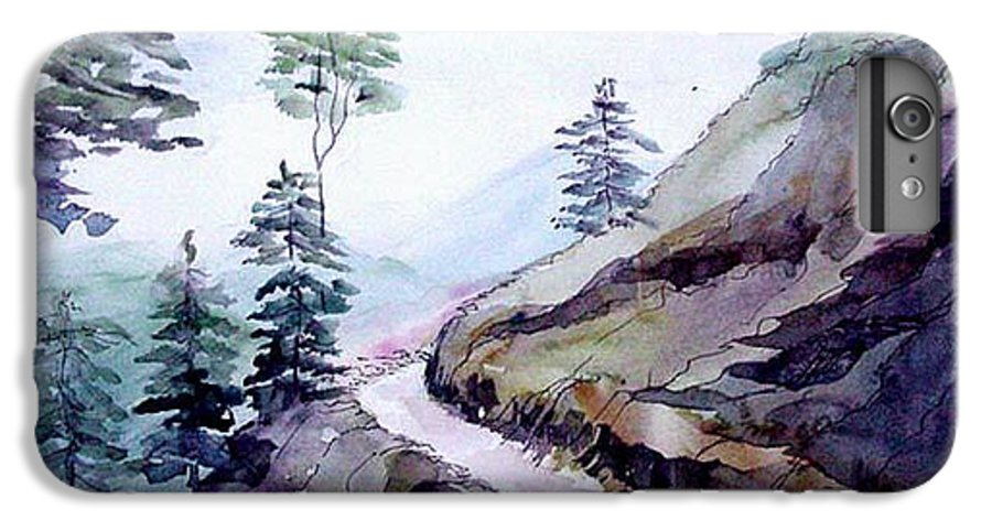 Landscape IPhone 6s Plus Case featuring the painting Blue Hills by Anil Nene