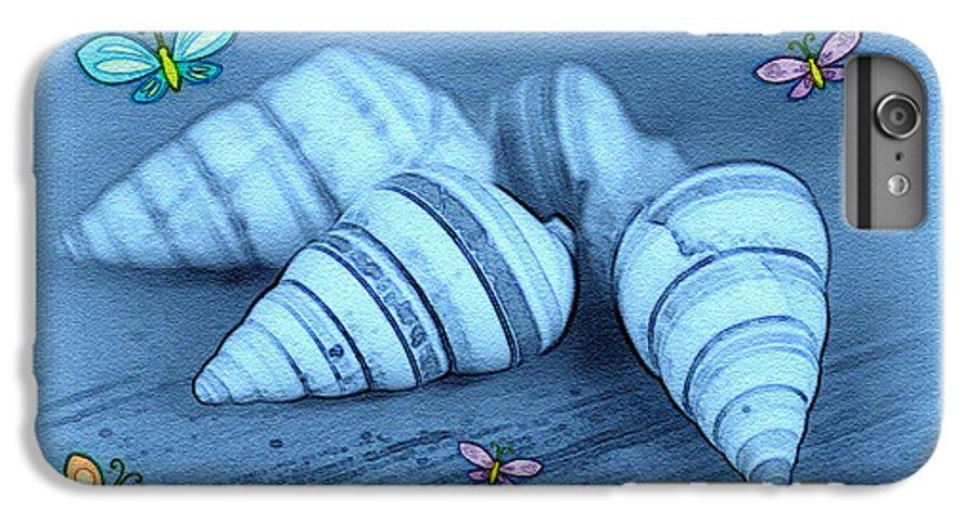Shell Art IPhone 6s Plus Case featuring the photograph Blue Seashells by Linda Sannuti
