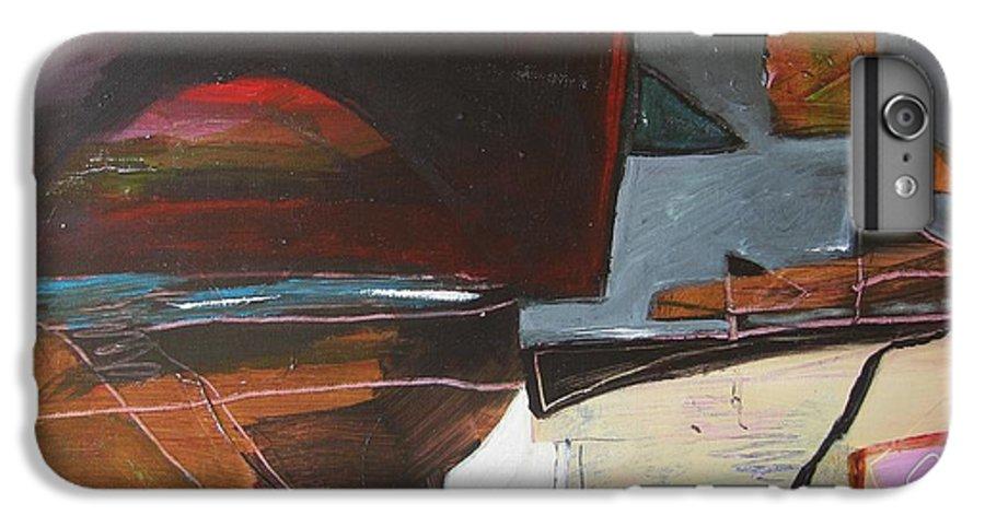 Abstract Atlantic Newfoundland Landscape Seascape Ocean Acrylic Paper Dusk Bonavista Canvas IPhone 6s Plus Case featuring the painting Bonavista At Dusk by Seon-Jeong Kim