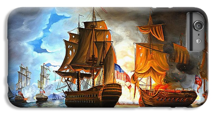 Naval Battle IPhone 6s Plus Case featuring the painting Bonhomme Richard Engaging The Serapis In Battle by Paul Walsh