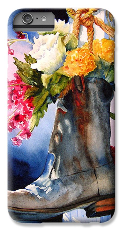 Cowboy IPhone 6s Plus Case featuring the painting Boot Bouquet by Karen Stark