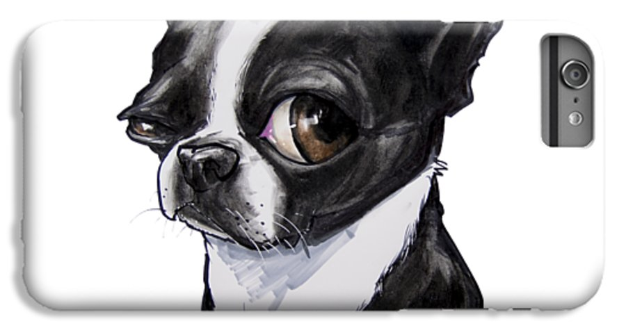 Boston Terrier IPhone 6s Plus Case featuring the drawing Boston Terrier by John LaFree
