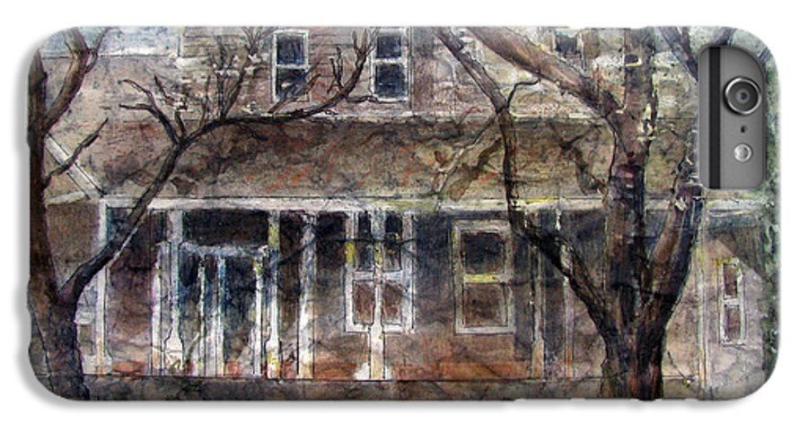 House IPhone 6s Plus Case featuring the mixed media Brown Batik House by Arline Wagner