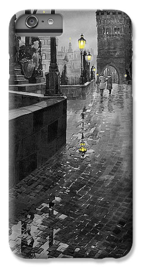 Prague IPhone 6s Plus Case featuring the painting Bw Prague Charles Bridge 01 by Yuriy Shevchuk