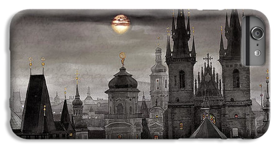 Cityscape IPhone 6s Plus Case featuring the painting Bw Prague City Of Hundres Spiers by Yuriy Shevchuk