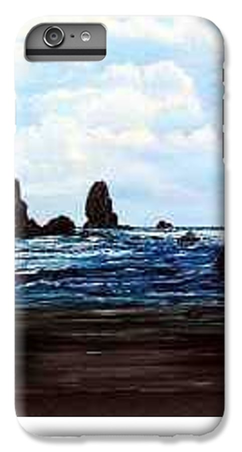 This Is Cannon Beach Oregon. This Painting Is Framed In A Lovely Gold Tone Frame. IPhone 6s Plus Case featuring the painting Cannon Beach by Darla Boljat