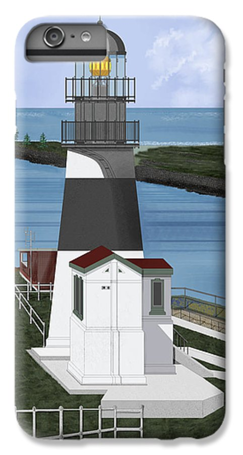 Lighthouse IPhone 6s Plus Case featuring the painting Cape Disappointment At Fort Canby Washington by Anne Norskog