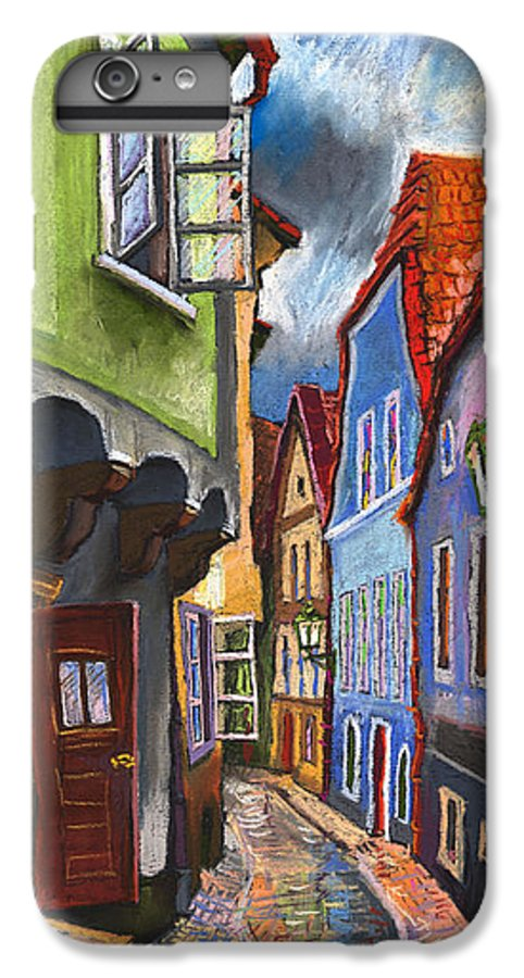 Pastel Chesky Krumlov Old Street Architectur IPhone 6s Plus Case featuring the painting Cesky Krumlov Old Street 1 by Yuriy Shevchuk