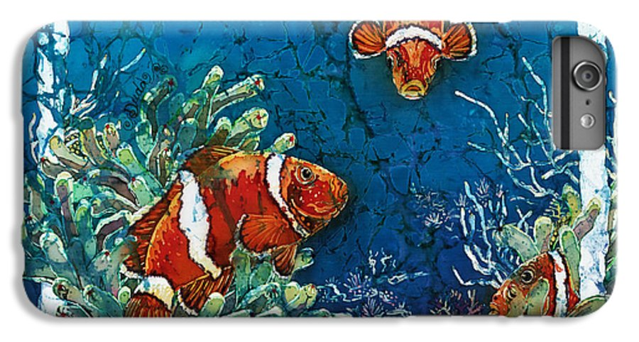 Ocean IPhone 6s Plus Case featuring the painting Clowning Around - Clownfish by Sue Duda