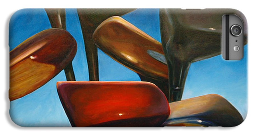Golf Clubs Brown IPhone 6s Plus Case featuring the painting Clubs Rising by Shannon Grissom