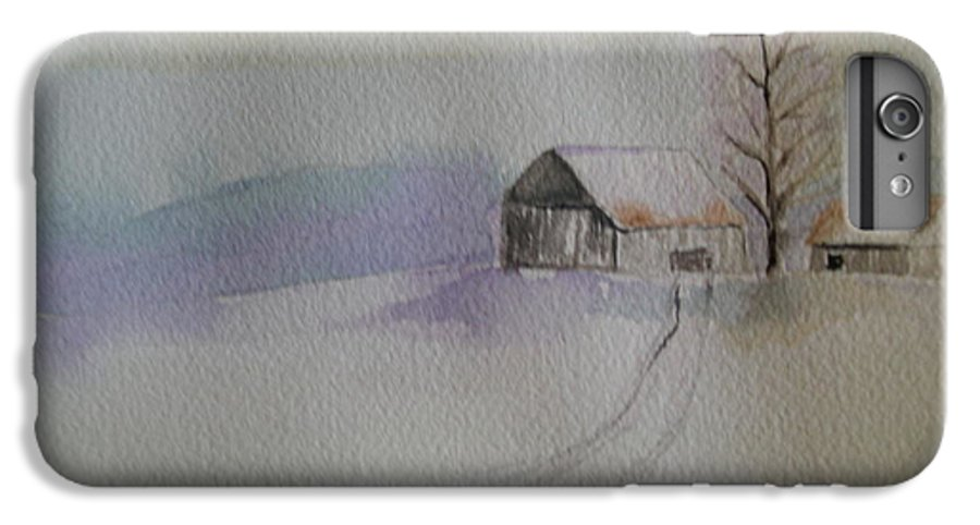 Barn Snow Winter Tree Landscape Cold IPhone 6s Plus Case featuring the painting Country Snow by Patricia Caldwell