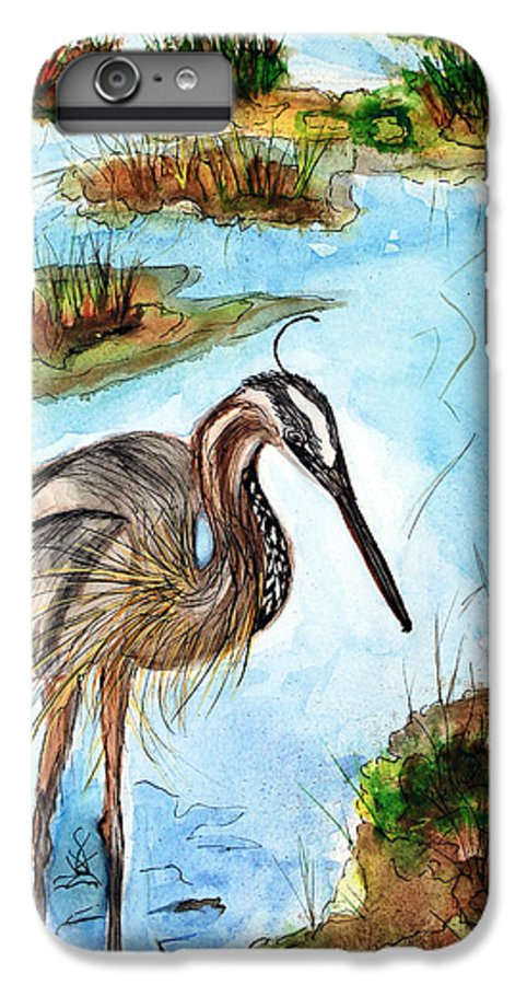 Birds IPhone 6s Plus Case featuring the painting Crane In Florida Swamp by Margaret Fortunato