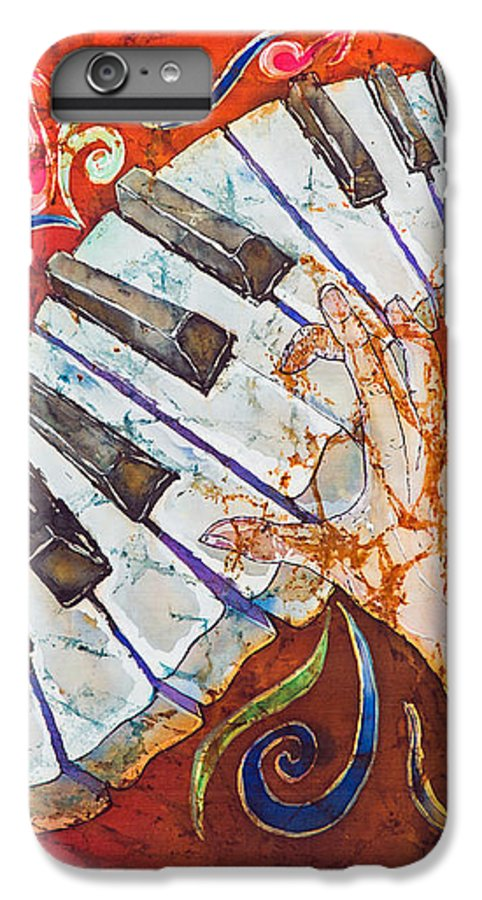 Piano IPhone 6s Plus Case featuring the tapestry - textile Crazy Fingers - Piano Keyboard by Sue Duda