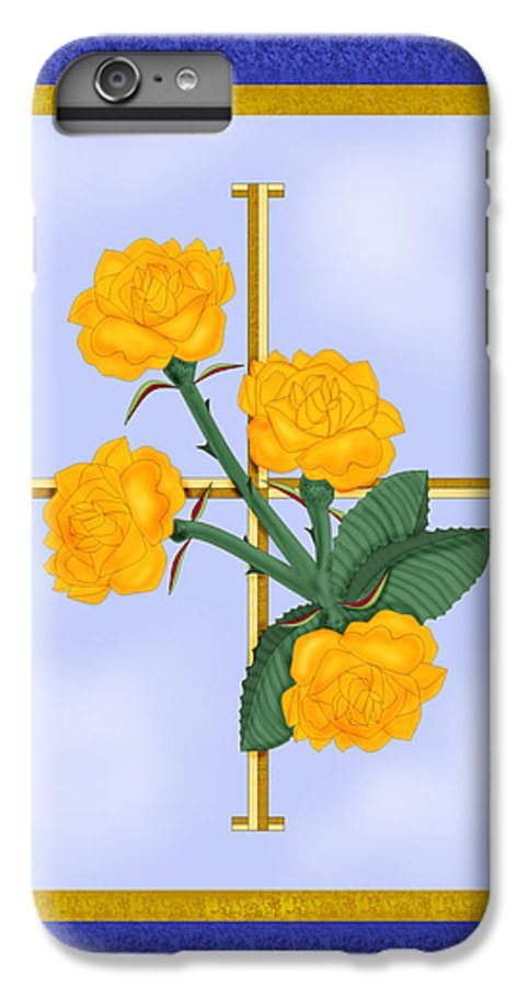 Golden Roses IPhone 6s Plus Case featuring the painting Crusader Cross And Four Gospel Roses by Anne Norskog