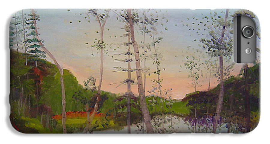 Landscape IPhone 6s Plus Case featuring the painting Dawn By The Pond by Lilibeth Andre