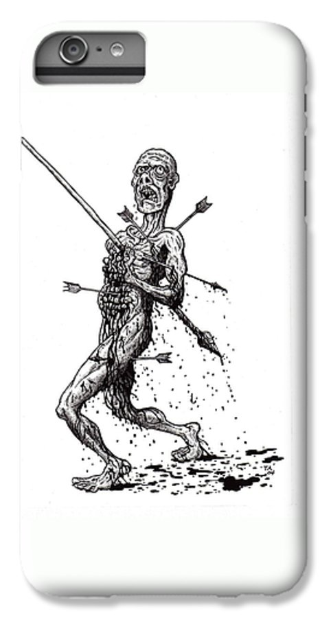 Dark IPhone 6s Plus Case featuring the drawing Death March by Tobey Anderson