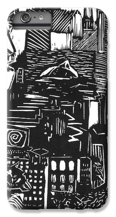 Apocalypse Buildings City Drown Lino Metropolis People Print Sheep Darkestartist Darkest Artist Black IPhone 6s Plus Case featuring the mixed media Drowning In Metropolis by Darkest Artist
