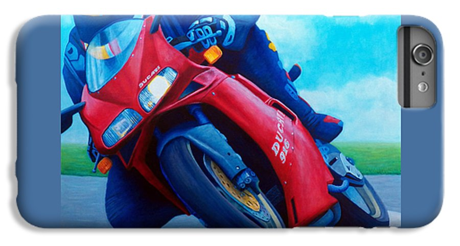 Motorcycle IPhone 6s Plus Case featuring the painting Ducati 916 by Brian Commerford