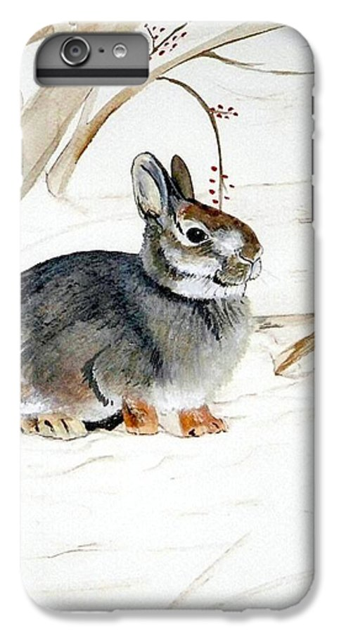 Rabbit IPhone 6s Plus Case featuring the painting Early Snow by Debra Sandstrom