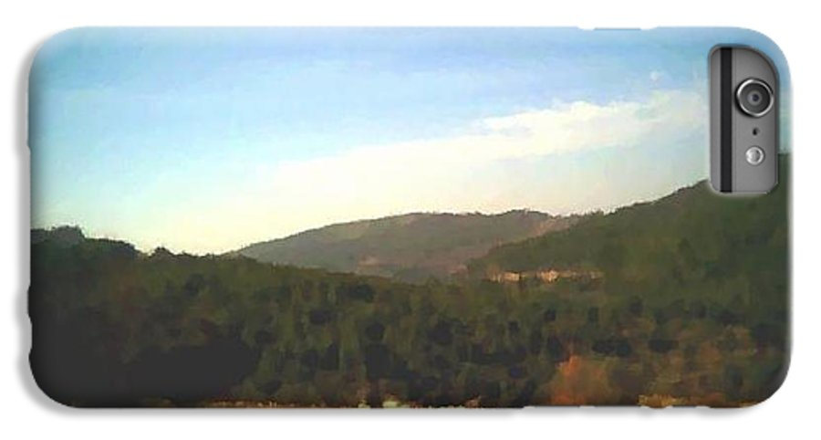 Sky.blue.little Clouds.foresty Hills.low Hills.forest.valley.trees.rest.silence.calm. IPhone 6s Plus Case featuring the digital art Ein-kerem Valley by Dr Loifer Vladimir