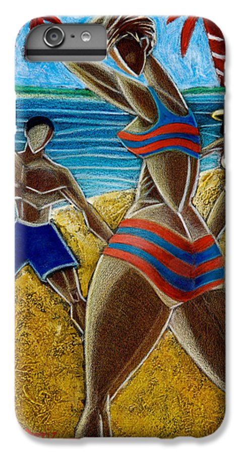 Beach IPhone 6s Plus Case featuring the painting En Luquillo Se Goza by Oscar Ortiz