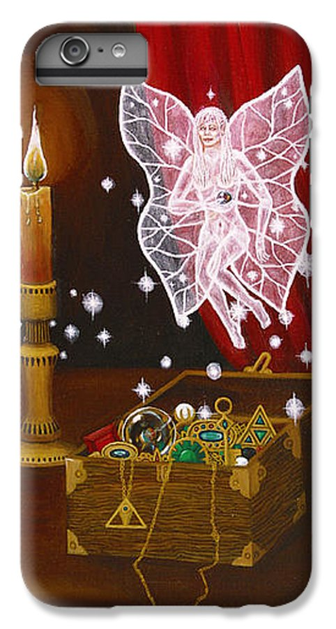 Fairy IPhone 6s Plus Case featuring the painting Fairy Treasure by Roz Eve