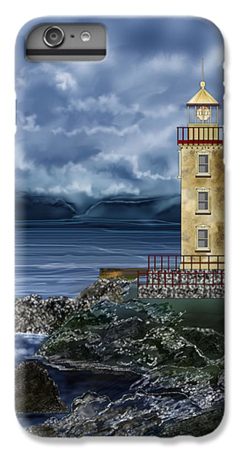 Lighthouse IPhone 6s Plus Case featuring the painting Fanad Head Lighthouse Ireland by Anne Norskog