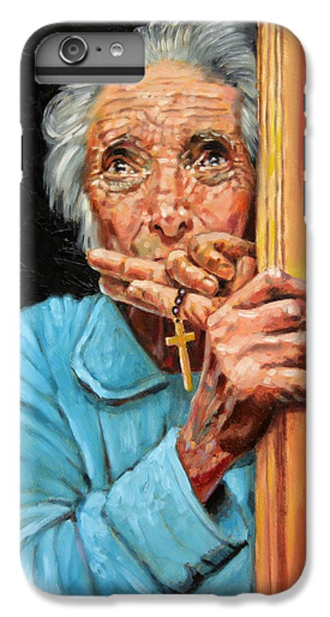 Old Woman IPhone 6s Plus Case featuring the painting Fear And Faith by John Lautermilch
