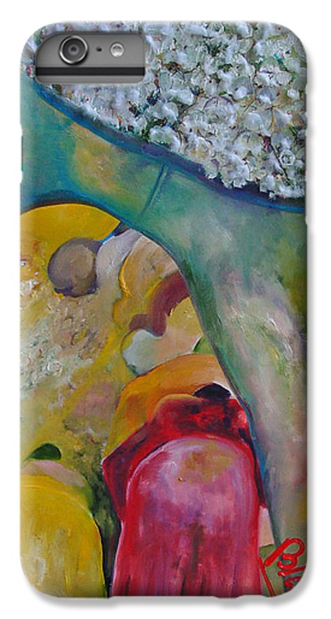 Cotton IPhone 6s Plus Case featuring the painting Fields Of Cotton by Peggy Blood