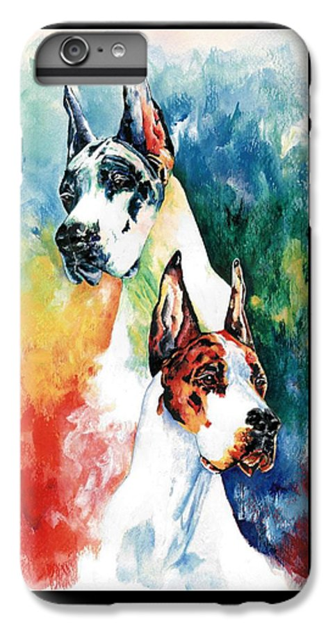 Great Dane IPhone 6s Plus Case featuring the painting Fire And Ice by Kathleen Sepulveda
