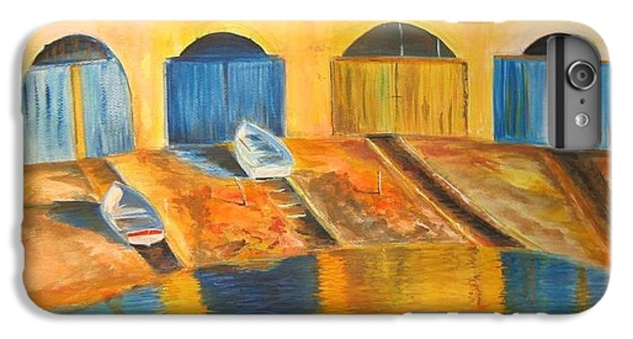 Boats IPhone 6s Plus Case featuring the painting Fishermens Boats At Sundown by Lizzy Forrester