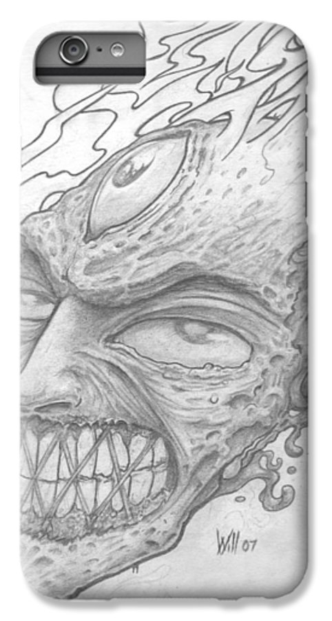 Zombie IPhone 6s Plus Case featuring the drawing Flamehead by Will Le Beouf