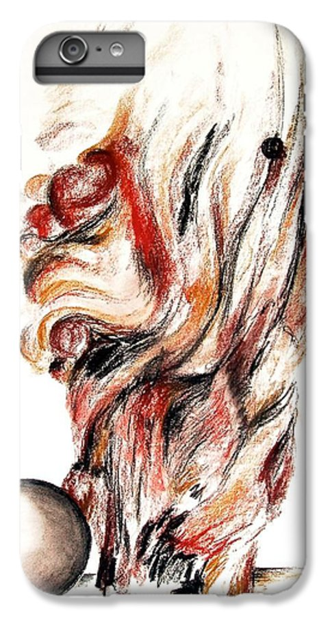Still Life IPhone 6s Plus Case featuring the drawing Flamme En Bois by Muriel Dolemieux