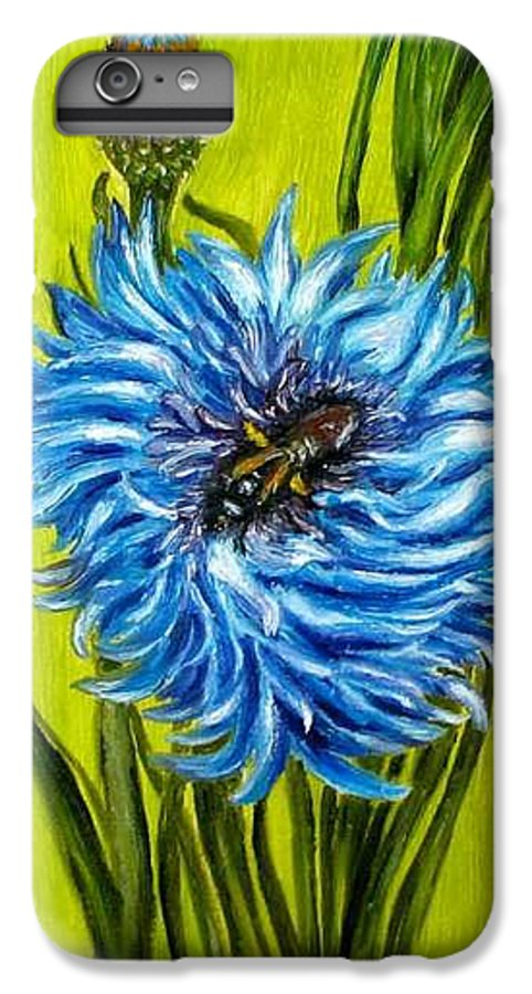 Flower IPhone 6s Plus Case featuring the painting Flower And Bee Oil Painting by Natalja Picugina
