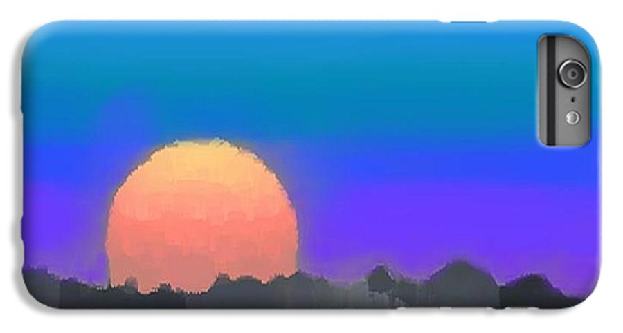 Evenung.sunset.sky.sun.background Forest.silence.rest IPhone 6s Plus Case featuring the digital art Forest Sunset. by Dr Loifer Vladimir