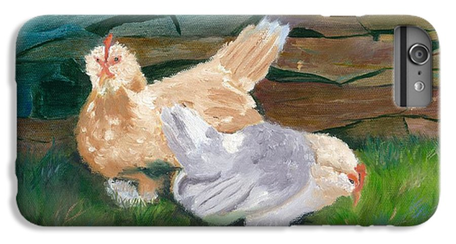 Chickens Bantams Countryside Stonewall Farm IPhone 6s Plus Case featuring the painting Fowl Play by Paula Emery