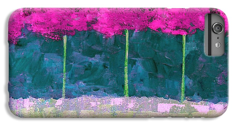 Abstract IPhone 6s Plus Case featuring the painting Fuschia Trees by Ruth Palmer