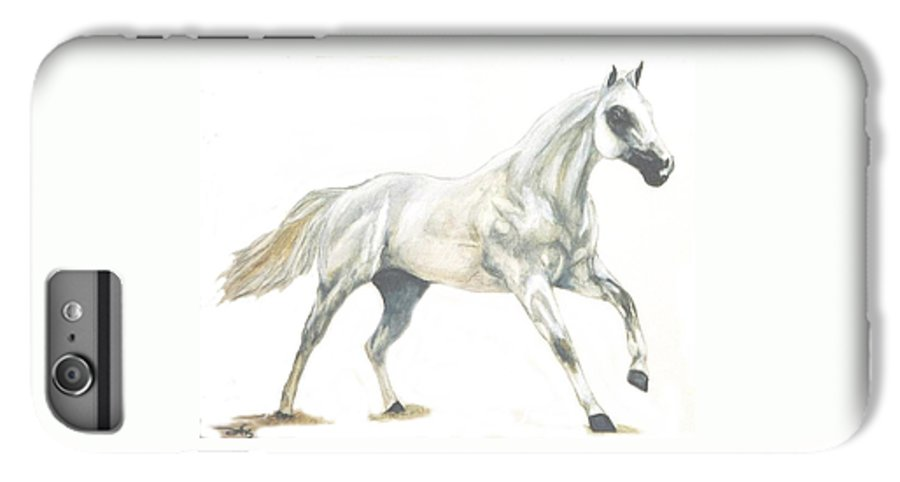 White Horse IPhone 6s Plus Case featuring the painting Ghost Horse by Debra Sandstrom