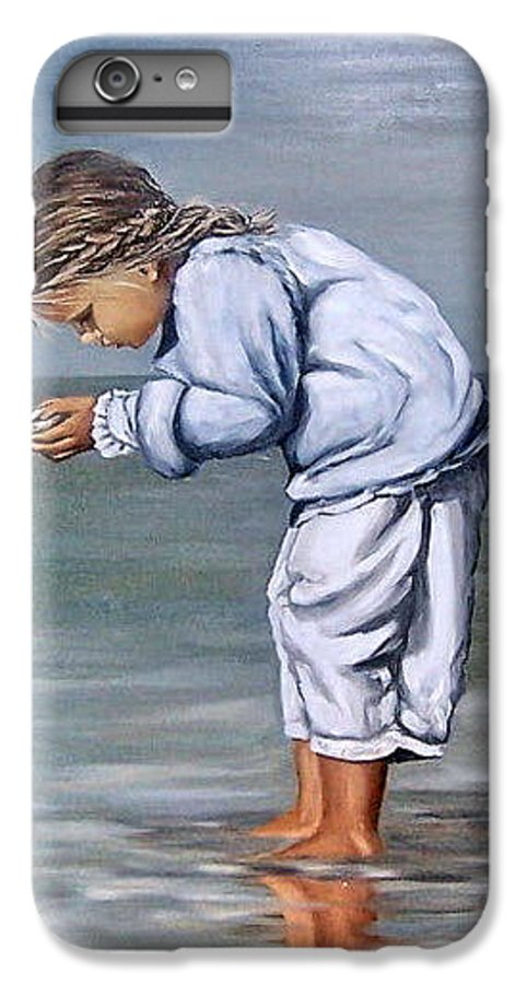 Kid Girl Seascape Sea Children Reflection Water Sea Shell Figurative IPhone 6s Plus Case featuring the painting Girl With Shell by Natalia Tejera