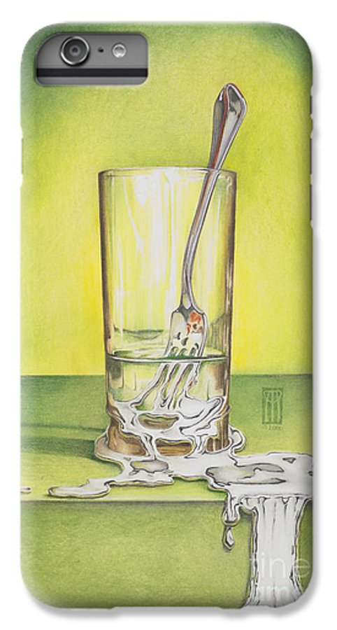Bizarre IPhone 6s Plus Case featuring the painting Glass With Melting Fork by Melissa A Benson