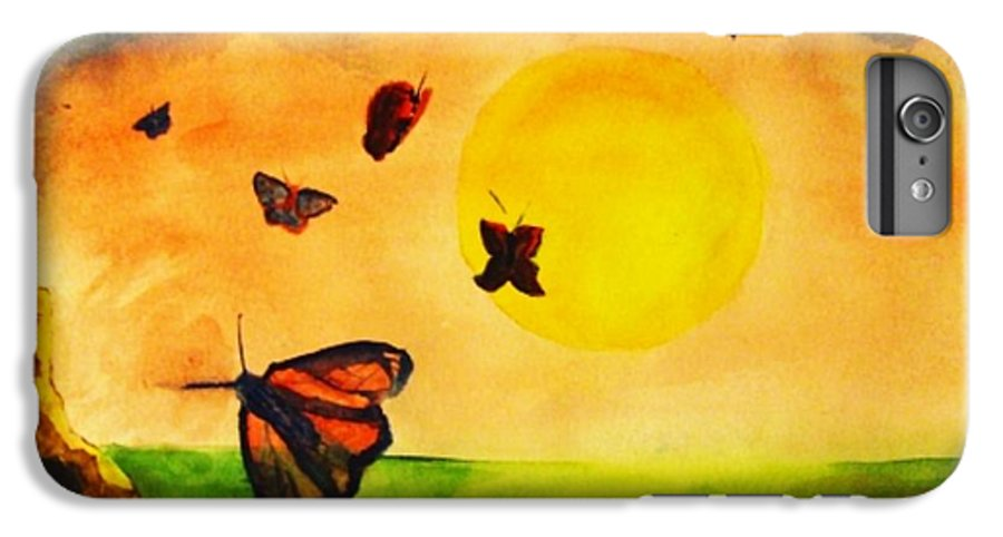 Gnome IPhone 6s Plus Case featuring the painting Gnome And Seven Butterflies by Andrew Gillette