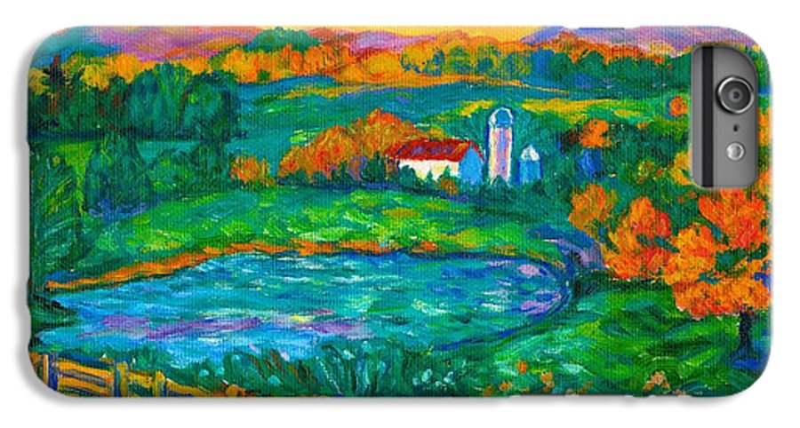 Landscape IPhone 6s Plus Case featuring the painting Golden Farm Scene Sketch by Kendall Kessler